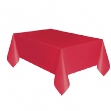 Red Table Cloth - Plastic 9ft Tablecover 1pc